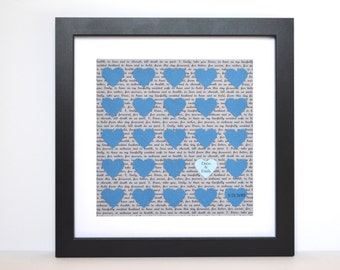 wedding vow display wedding date gift first anniversary gift gray and blue framed wedding vow keepsake last name gift paper hearts