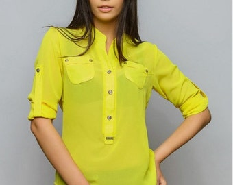 Yellow blouse Shirt long sleeves Crepe chiffon blouse Every day blouse Spring blouse Blouse for women Blouse with buttons Summer shirt