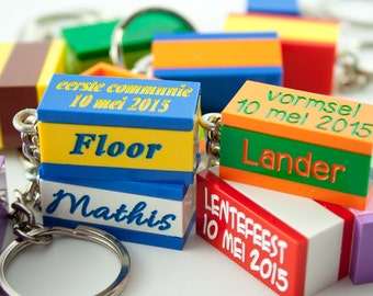 Personalised lego® keychain with 2 plates