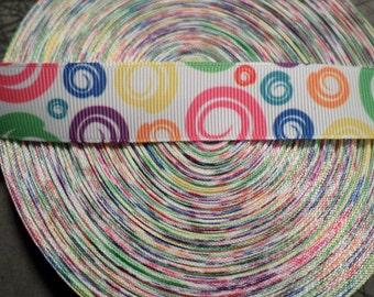 Colorful Rainbow Circles Grosgrain Ribbon