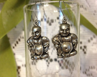 "FREE SHIPPING Silver Tone Buddha Figure Earrings on Kidney Ear Wires.  Measures 1 1/2"" by 3/4"".  Fun Pair of Earrings  (GM 62)"