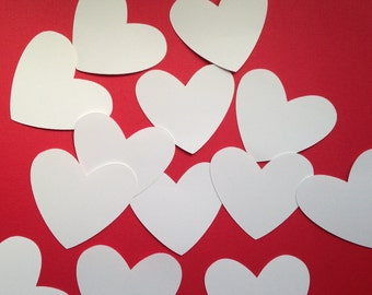"White Hearts Die Cuts (3"" wide), Heart Wedding Placecards, Valentines Day Heart Tags, White Paper Hearts"