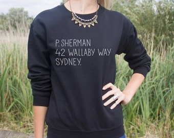 P.Sherman 42 Wallaby Way Sydney Jumper Sweater Funny Quote Address Movie Christmas Gift