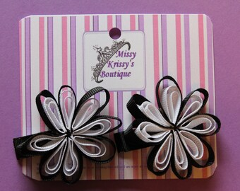 Ribbon Flower Hair Bow Hair Clips, Black and White
