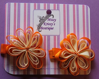 Ribbon Flower Hair Bow Hair Clips, Orange