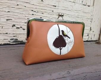 Tan Leather / Echino Fabric Leather Kiss Lock Clutch