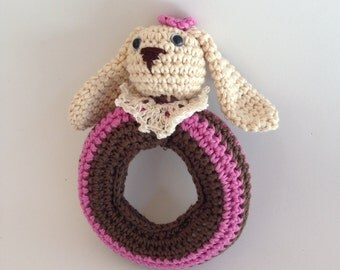 Baby Rattle. Newborn gifts amigurumi. Pink rabbit, 100% handmade.