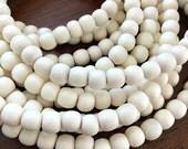 65 Natural White Wood Beads, Round Wooden Mala Beads, Round White Wooden Beads, Whitewood Beads, 6mm (W6-02)