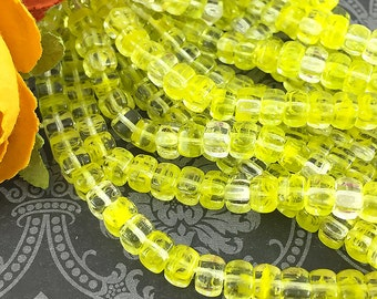 SALE - Bright Yellow Glass Cube Beads, Small Czech Glass Cubes, Yellow Glass Beads, 5x4mm - 25 beads (CU-04)