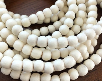 Natural White Wood Beads, Round White Wooden Mala Beads, Whitewood Beads, Bleached Pangantuon Wood Beads, 6mm - 65 beads (W6-02)