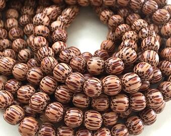 DISCOUNTED Natural Palmwood Beads, Small Round Wooden Beads, Palmwood Mala Beads, 8mm Mala Beads (W6-32)