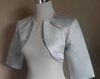 Light Silver/Grey Satin Bolero Fully Lined - UK 4-26/US 1-22 Shrug/Cropped Jacket/Wrap/Shawl