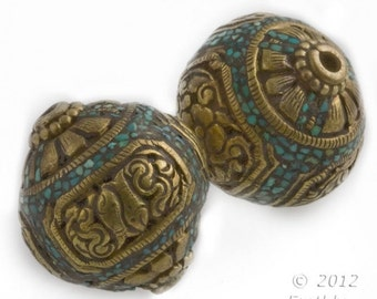 Handmade vintage Tibetan heavy brass repoussé focal bead with crushed turquoise inlay 20x19mm.  1 pc. b18-0347(e)