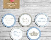 Boy Baby Shower Cupcake topper, Blue and Silver glitter sparkle printable party, Little Prince topper favor tags!