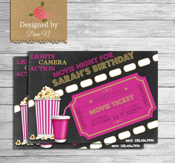 Movie birthday invitation movie night party invite outdoor