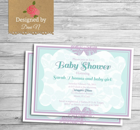 baby shower invitation purple and teal lace baby shower chiq lace