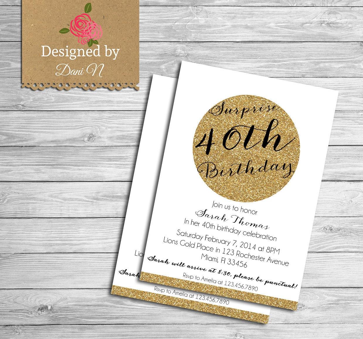 Surprise 40th Birthday Party Invitations | Olivero