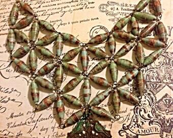Paper Bead Bib, Steampunk Paper Bead Bib Necklace, Green and Rust Bib, Paper Bead Jewelry, Paperbead Jewelry, Steampunk Jewelry