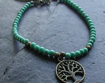 Turquoise Beads Antique Bronze Tones Tree of Life Anklet Ankle Bracelet