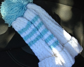 Hand Knitted Golf Club Headcover with Pom-Poms on top