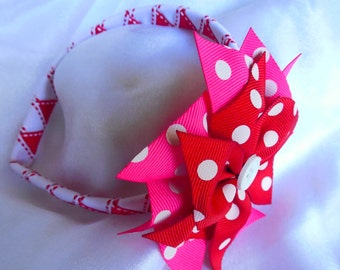 Red, pink and white woven headband