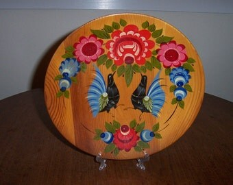 Vintage Russian Leningrad 1973 Wooden Wall Plate Hand Painted Birds and Flowers