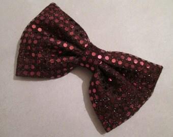 Birthday Hair Bow - Big Hair Bow - Burgandy Bow - Sequin Fabric Hair Bow -  Hair Bows For Teens - Women Hair Bow - Prom Hairbow...(438)
