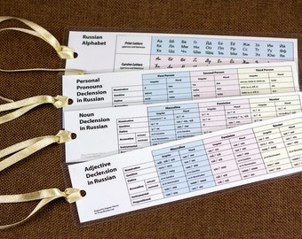Russian Grammar Tables Bookmark Set Free Shipping