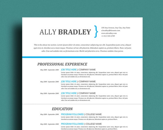 bright blue resume template professional cv by