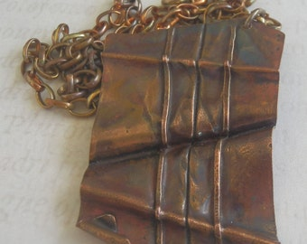 Copper Fold formed Rectangular Pendant
