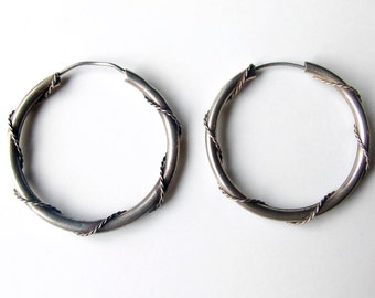 Vintage Silver Rope Hoop Earrings
