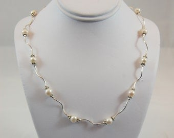 Freshwater Pearl & Sterling Silver Twist Necklace