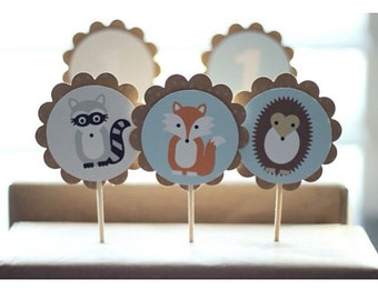 Twelve (12) Woodland Creatures themed Cupcake Toppers