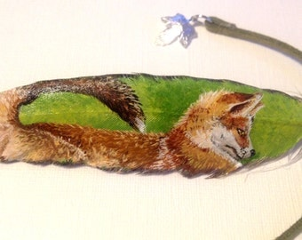 Original Red Fox Painted on Genuine Bird Feather