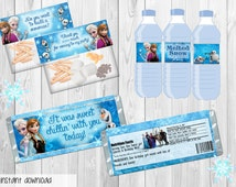 Frozen party pack - treat topper, candy bar wrapper, water labels