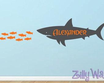 Shark wall decal Fish Custom Name Vinyl Wall Decal Boys nautical wall decal