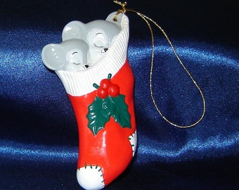 Two Mice in a Sock Ornament - Christmas Ornaments - Ceramic Ornaments - Mice Ornaments