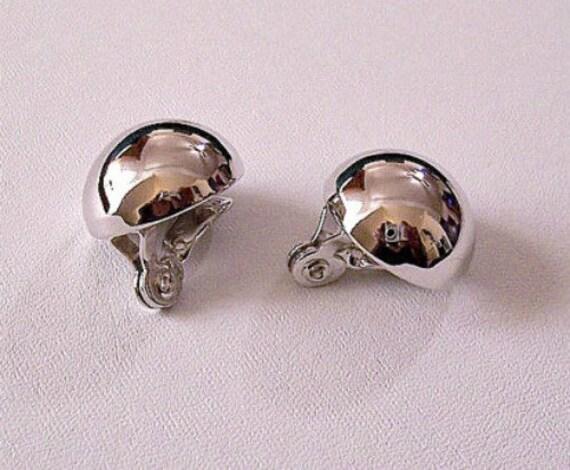 monet button clip on earrings silver tone by