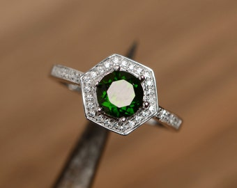 natural russian chrome diopside ring engagement ring promise ring hexagon ring birthday gift for her sterling silver