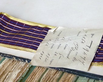 Antique French jacquard ribbon trim gold edging, deep purple, ivory, chartreuse, check, costume design, downtown abbey, millinery
