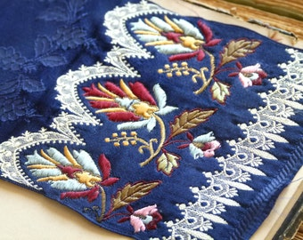 Antique 19th century french jacquard silk ribbon in electric blue, burgundy, & ivory floral and lace motif, collector fabric, scarf sample