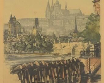 Antique Prague painting - Prague castle across Vltava river