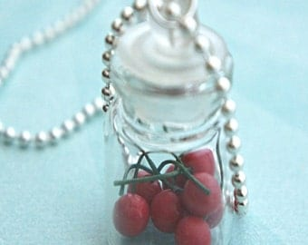 cherries in a jar necklace-miniature food jewelry, bottle necklace, food jar necklace