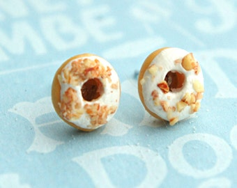 white chocolate donut earrings- miniature food jewelry, food earrings, donuts earrings