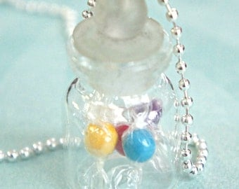 candies in a jar necklace- miniature food jewelry, bottle necklace, candy jar necklace