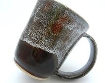 Medium Coffee Mug, Deep Red Purple and White Ceramic Cup, Handmade UK Pottery