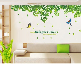 Fresh green leaves wall decals two birds vinyl wall decals butterfly decal wall decals Wall Stickers Removable decorative wall stickers