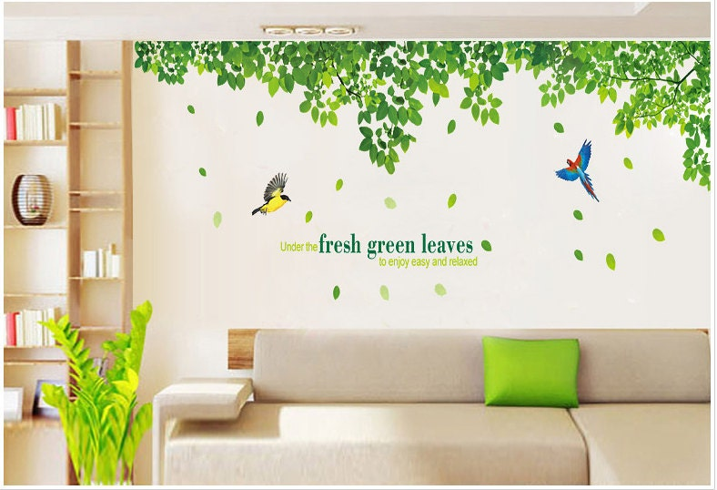 Fresh Green Leaves Wall Decals Two Birds Vinyl Wall Decals - Wall decals leaves
