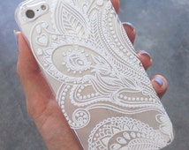 Apple iPhone clear hard case 4, 4s 5 Se 5s 5c 6 6s 6 6s Plus Samsung S3,S4,S5 & S6 Henna Paisley Floral White Lace Print Ethnic iphone