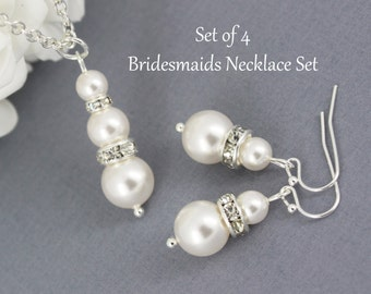Set of 4 Pearl Necklace and Earrings, Bridesmaid Necklace and Earrings, Swarovski Cream Pearl, Swarovski Necklace Earring, Bridesmaid Gift